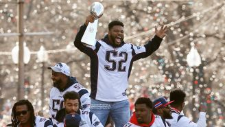 Elandon Roberts, festeja Campeonato con Patriots