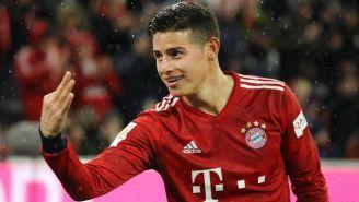 James Rodríguez, en festejo con el Bayern Munich