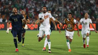 Riyad Mahrez celebrando su gol de último minuto