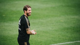 Sergio Ramos durante un entrenamiento del Real Madrid