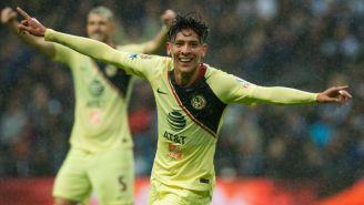 Edson Álvarez celebra un gol con el América en el Clausura 2019
