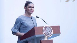 Ana Guevara durante el discurso a la delegación mexicana que participará en Lima 2019