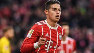 James Rodríguez festeja una anotación con el Bayern Múnich