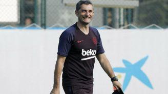 Ernesto Valverde en pretemporada con Barcelona