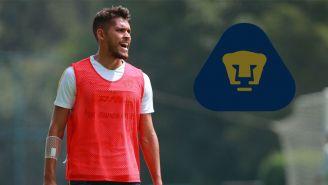Nicolás Freire en un entrenamiento con Pumas