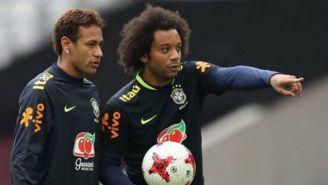 Neymar y Marcelo, en una práctica con Brasil