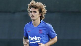 Griezmann, en un entrenamiento del Barça