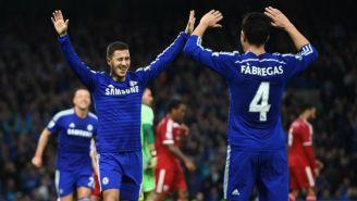 Eden Hazard y Cesc Fàbregas, celebran anotación