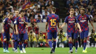 Jugadores del Barcelona durante el amistoso ante Chelsea