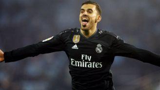 Dani Ceballos celebrando una anotación con Real Madrid