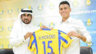 Héctor Moreno durante su presentación con el Al- Gharafa