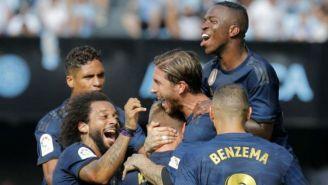 Jugadores del Real Madrid, en festejo en Balaídos