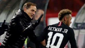 Thomas Tuchel y Neymar en un partido con Barcelona
