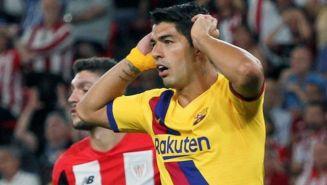Suárez se lamenta en el partido ante Athletic