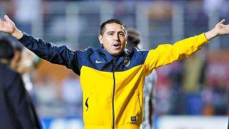 Juan Román Riquelme celebra un triunfo del Boca Juniors