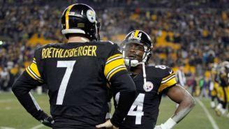 Antonio Brown y Ben Roethlisberger con los Steelers