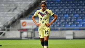 Daniela Espinosa pensativa tras el juego entre Rayadas y América