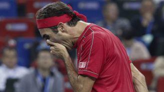 Federer, durante el partido contra Alexander Zverev