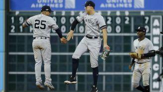 Jugadores de los Yankees celebraron el triunfo sobre los Astros