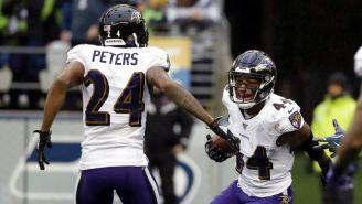 Ravens celebra una anotación contra Seattle