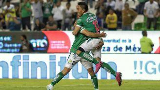 El festejo de uno de los goles de León