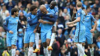 Jugadores del Manchester City celebrando una anotación