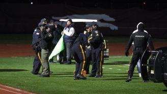 La Policía en el estadio tras el tiroteo