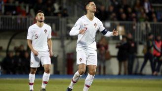 Cristiano Ronaldo lamentando un fallo ante Luxemburgo