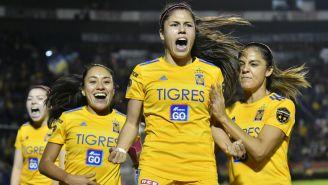 Tigres Femenil festejando gol en Apertura 2019