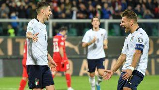 Jorginho e Immobile celebrando un gol con Italia