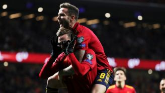Jugadores de España festejan una anotación contra Rumania