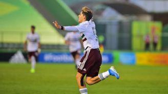 Santiago Muñoz, en festejo de gol