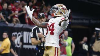Kendrick Bourne celebrando un touchdown