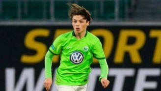 Adrian Goransch en un partido con la Sub19 del Wolfsburgo