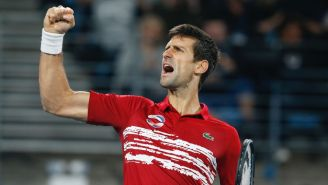 Novak Djokovic celebra tras ganar la Copa ATP