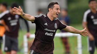 Andrés Guardado, en un entrenamiento con el Tri