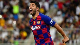 Luis Suárez festeja su gol en la SuperCopa