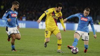 Messi y Zielinski, en el partido de Champions