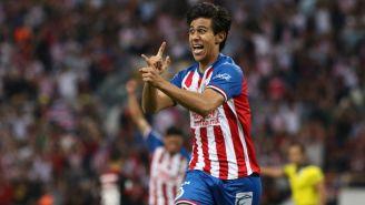 JJ Macías celebrando el segundo gol ante Atlas