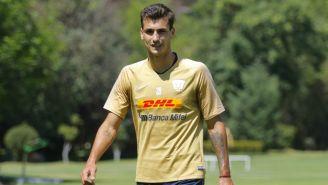 Juan Dinenno durante un entrenamiento de Pumas