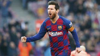 Leo Messi festeja un gol con el Barcelona