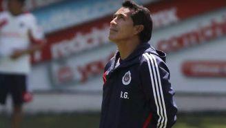 Benjamín Galindo, en una práctica de Chivas