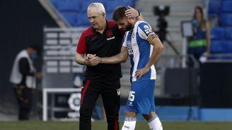 Aguirre saluda David López, capitán del Espanyol