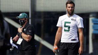 Joe Flacco, en una práctica de los Jets