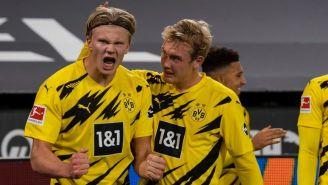 Erling Haaland después de anotar gol con el Borussia Dormund