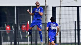 Daniel López festeja su gol con la Sub 20 de La Máquina