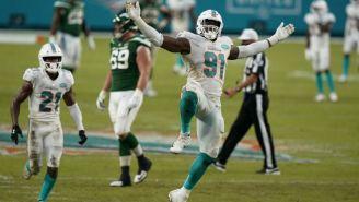 Jugadores de los Miami Dolphins en festejo