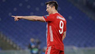 Robert Lewandowski en un partido de Champions League con el Bayern Munich