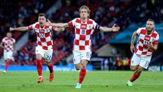Luka Modric en festejo con Croacia