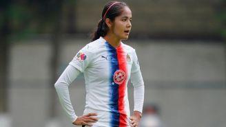 Miriam García en un partido con Chivas